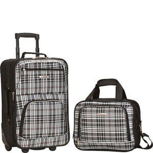 Rockland 2 piece luggage set black cross
