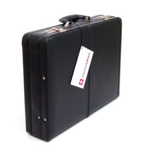 alpine swiss expandable leather suitcase